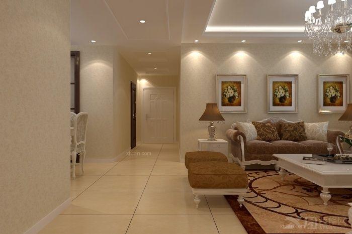时代倾城3栋117㎡客厅全景装修效果图 现代中式客厅装修效果图 天俊图片