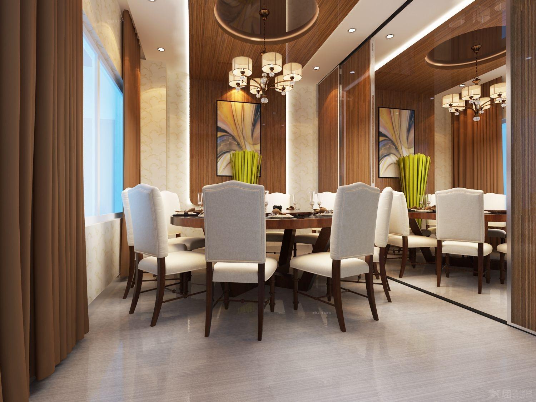 餐桌的背景墙是镜子好不好看 简约式风格原木色吊顶复式餐厅效果图图片