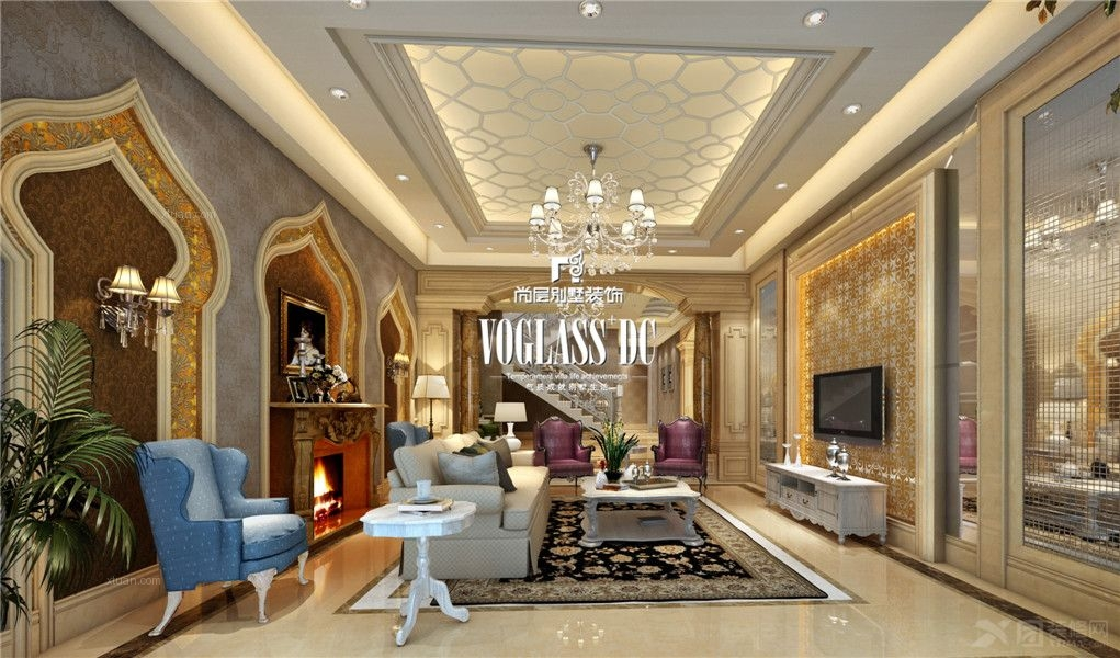 独栋别墅美式风格客厅电视背景墙