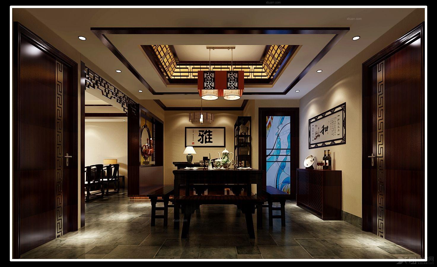 纯古典中式风格运用了屏风及很多中式木格