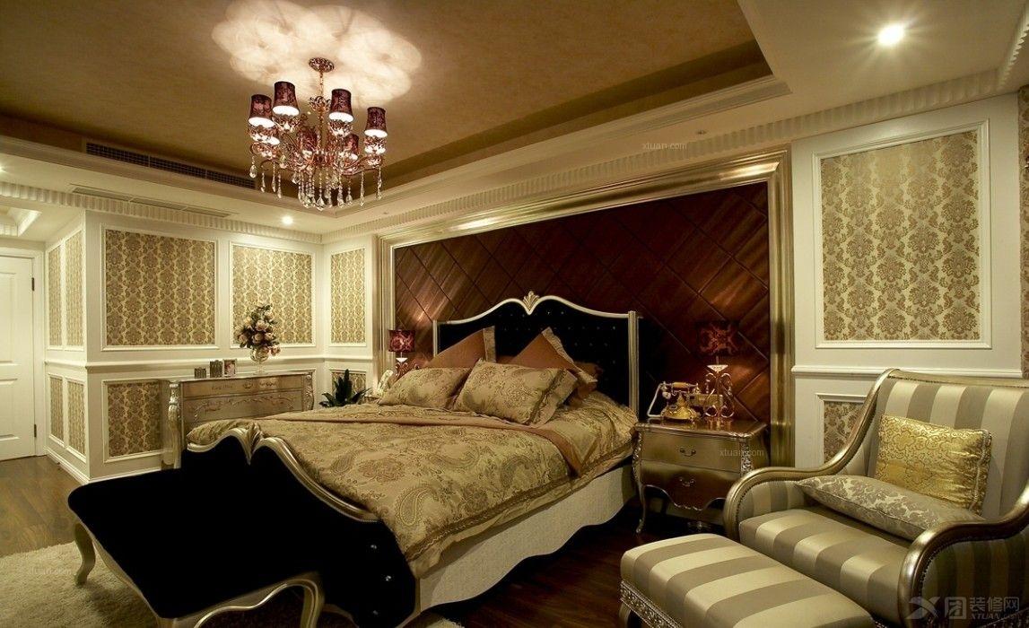 别墅欧式风格主卧室软装_西郊长提别墅装修效果图-x团图片