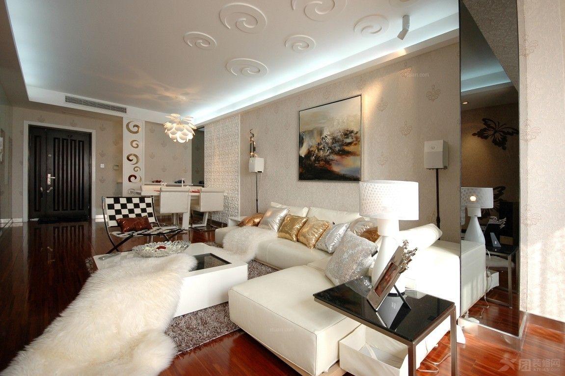 大户型简欧风格客厅软装_西郊庄园装修效果图-x团装修