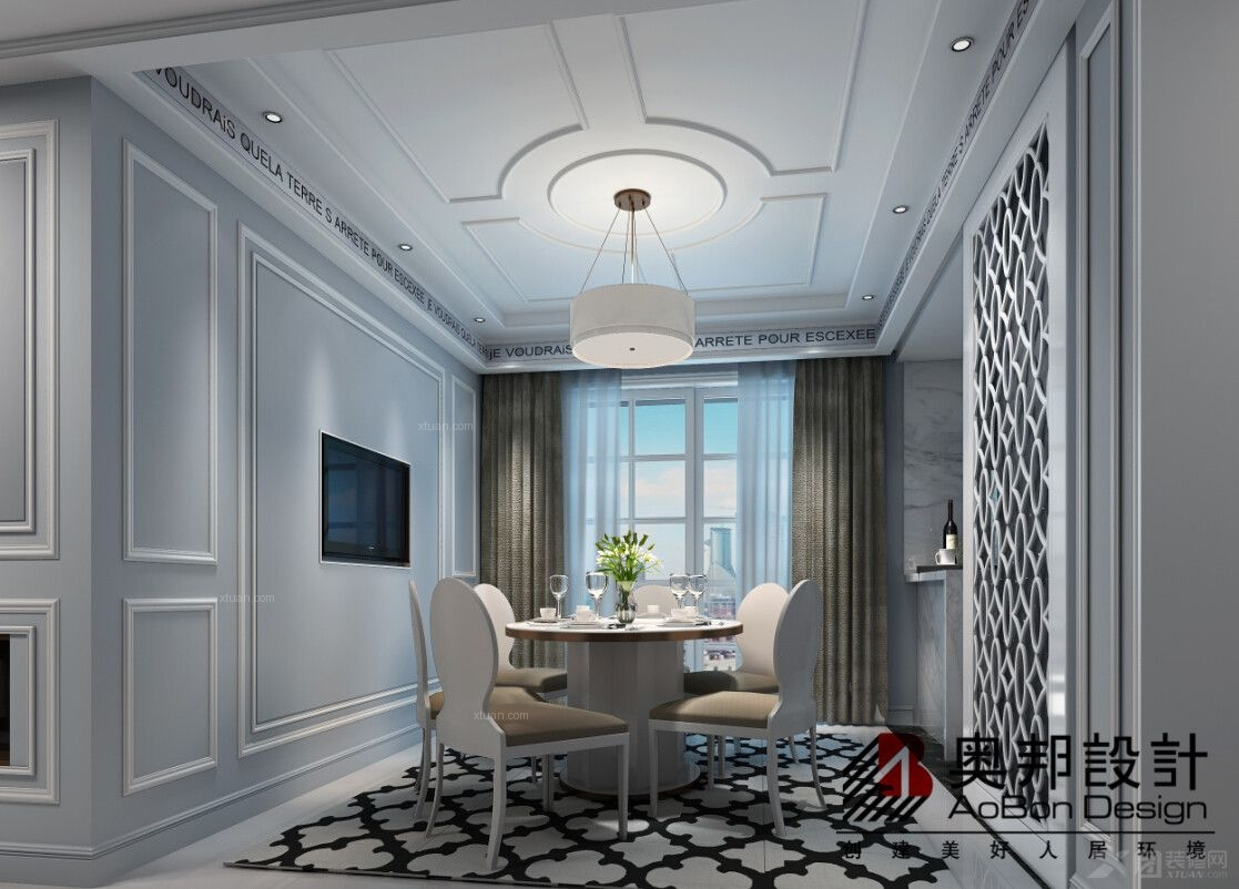 四居室欧式风格餐厅电视背景墙图片