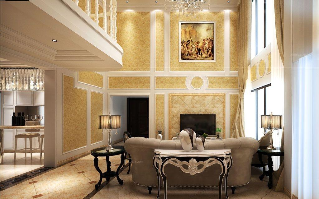 复式楼简欧风格客厅电视背景墙图片
