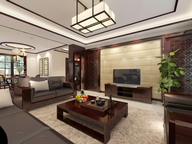 三居室中式风格客厅电视背景墙图片