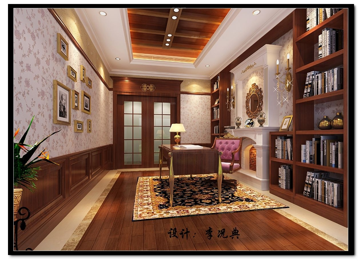 别墅欧式风格书房图片