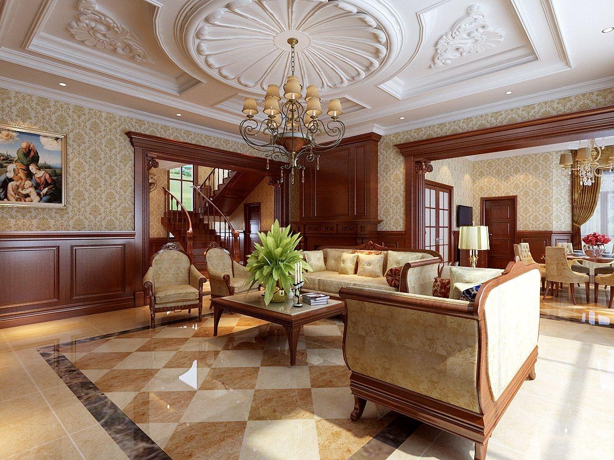 绿地棋盘山庄260平别墅美式风格设计风尚装修效果图图片