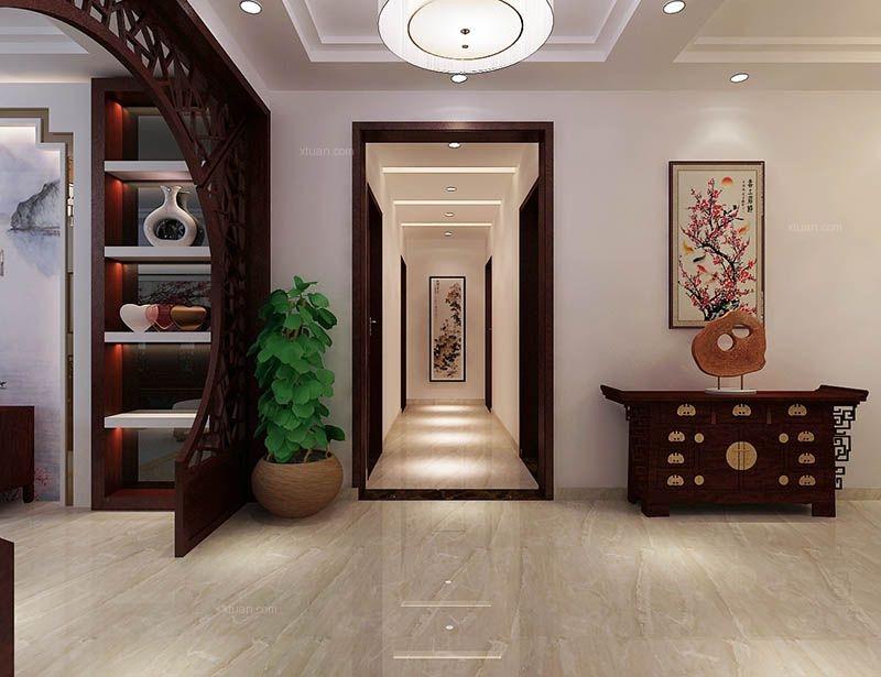 标签:过道三居室中式风格 设计理念:泰安宝胜广场新中式装修效果图图片