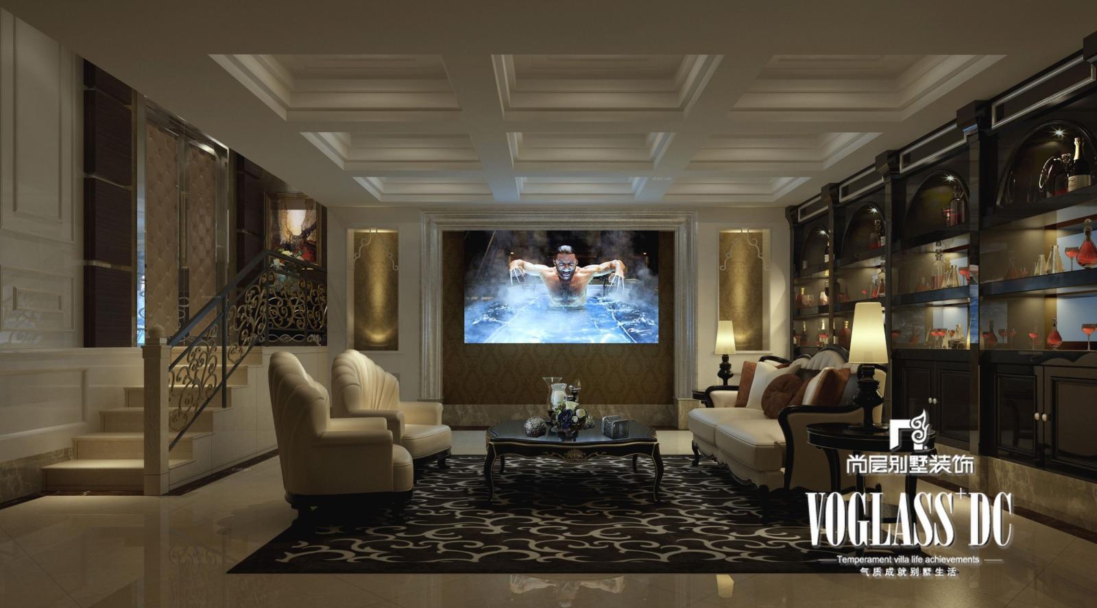 别墅美式风格露台电视背景墙