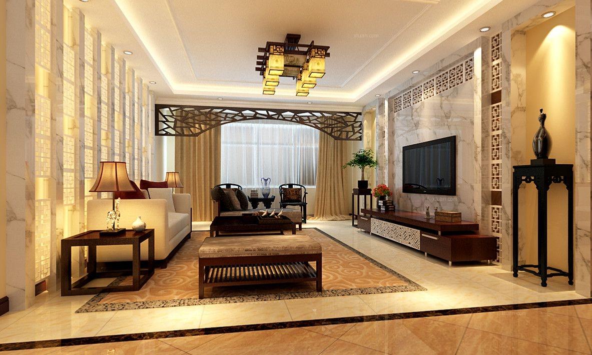 【上海实创装饰】打造159平三居室现代中式风格装修效果图