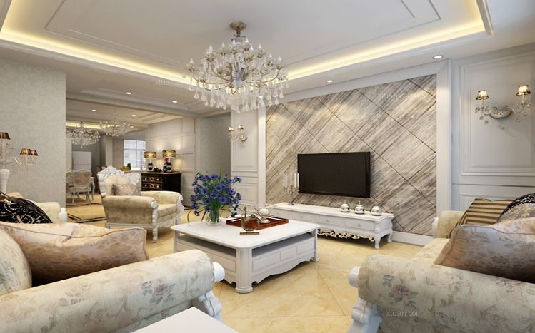 标签:客厅三室两厅欧式风格 设计理念:背景墙石材砖的运用可以体现出