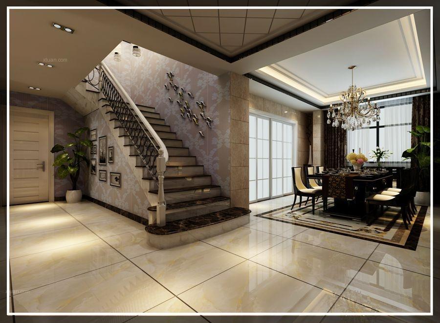 过道别墅现代简约 设计理念:本案例为舒城欧洲华城别墅后现代风格装修图片