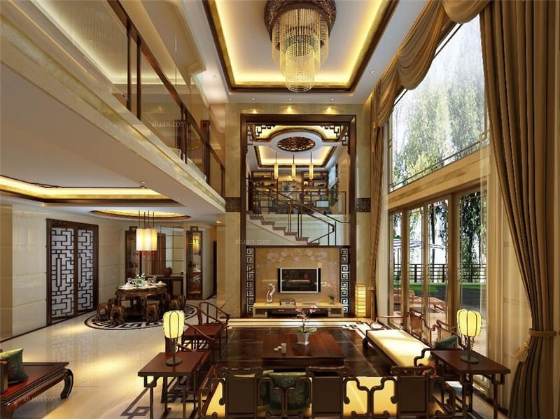 独栋别墅中式风格装修效果图