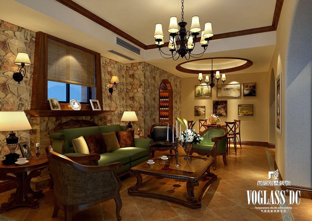 别墅美式风格交换空间墙绘图片