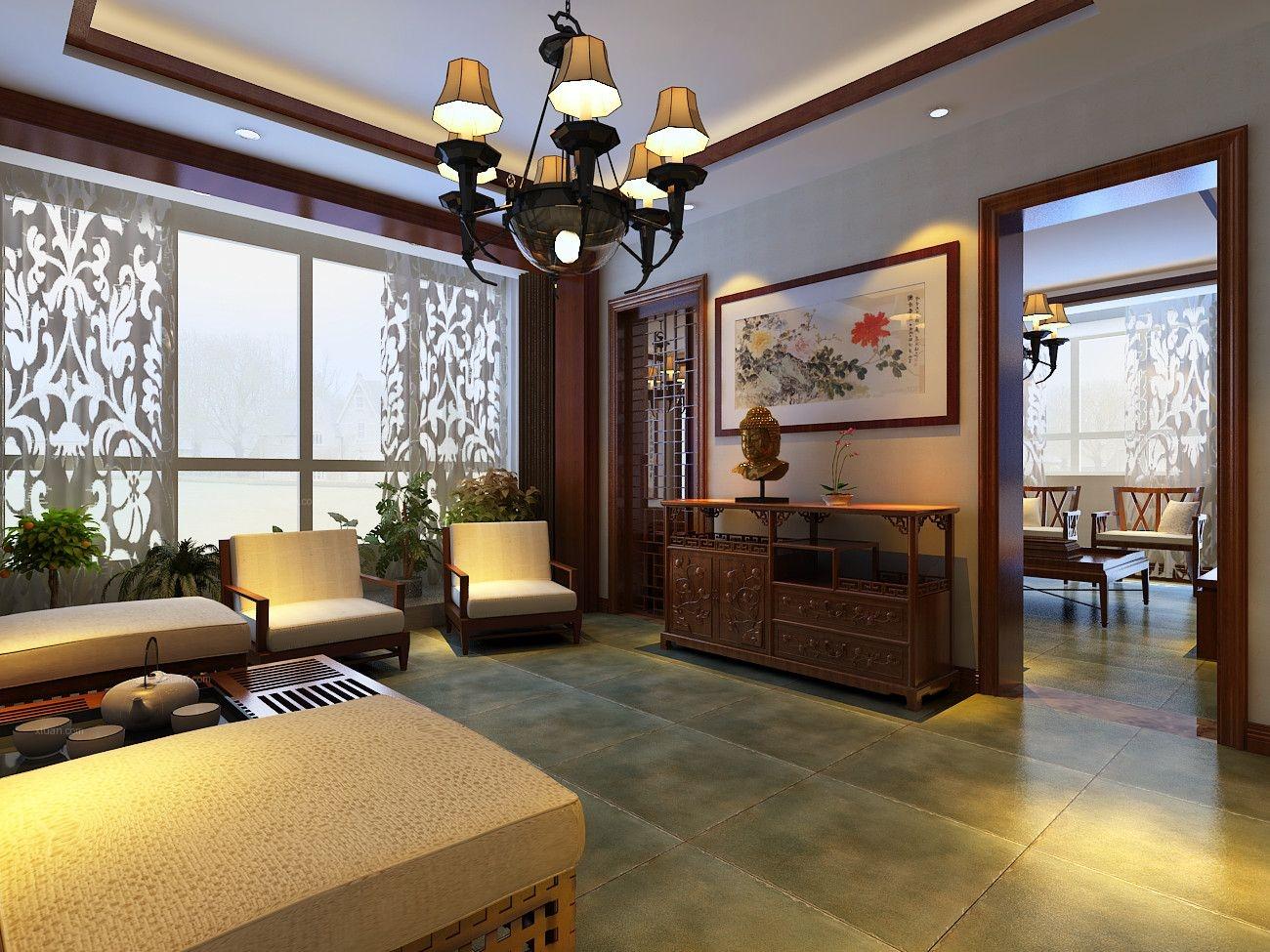 香蓝蒲河80平新中式风格设计装修效果图图片