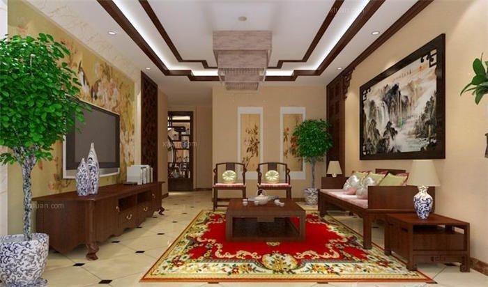 高端别墅设计中式风格装修效果图图片
