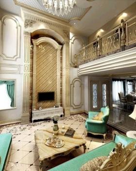 新郑国瑞城300平欧式风格装修效果图-复式楼欧式风格客厅电视背景墙图片