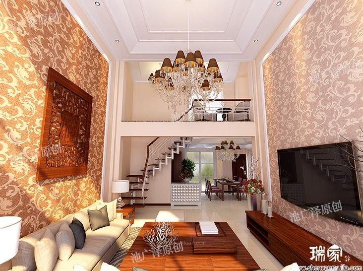 复式楼现代风格客厅电视背景墙图片