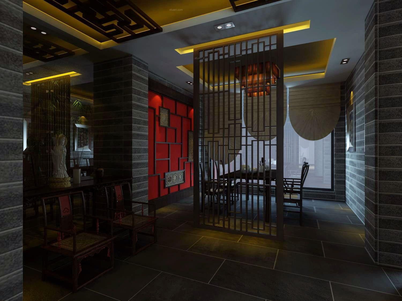 中式饭馆装修效果图图片
