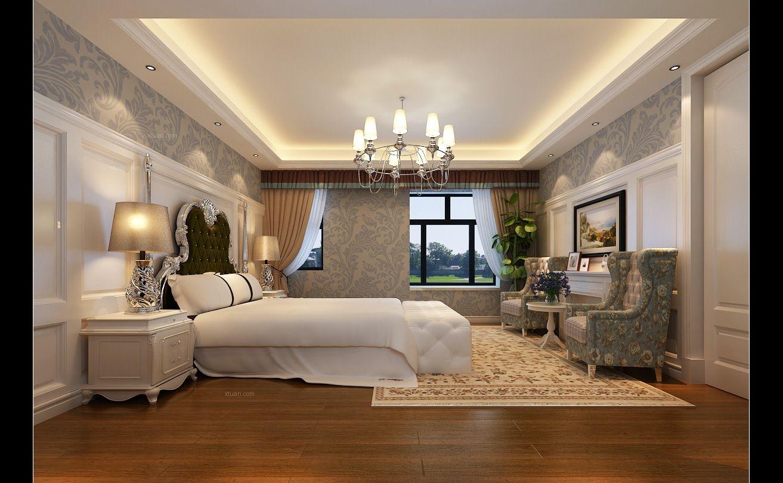 复式楼欧式风格卧室圆形吊顶