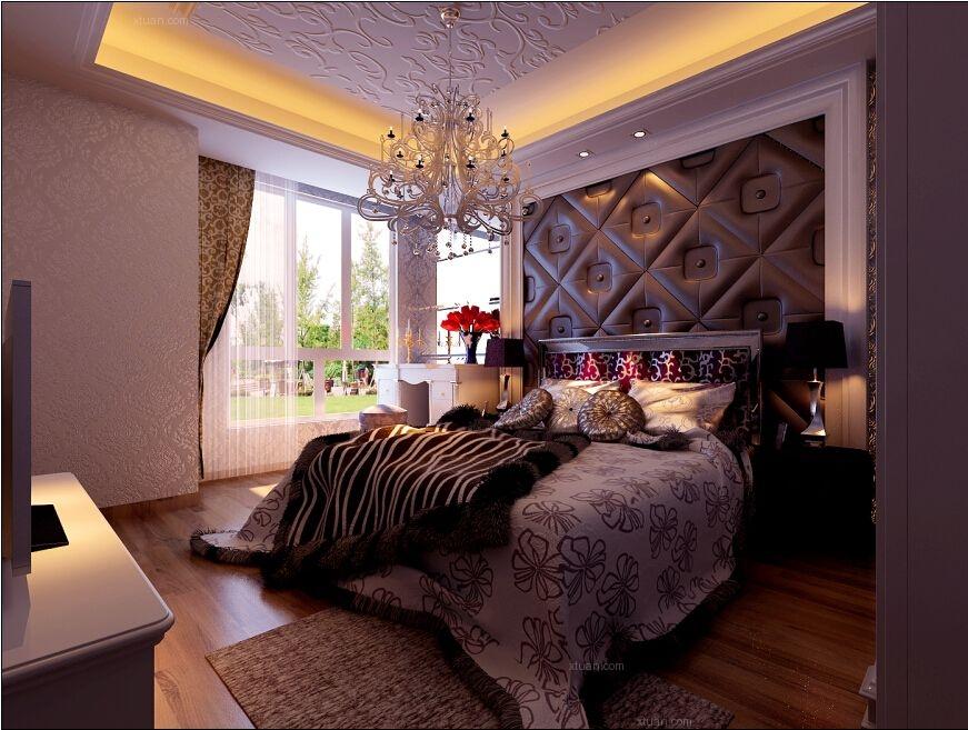 三居室欧式风格卧室圆形吊顶