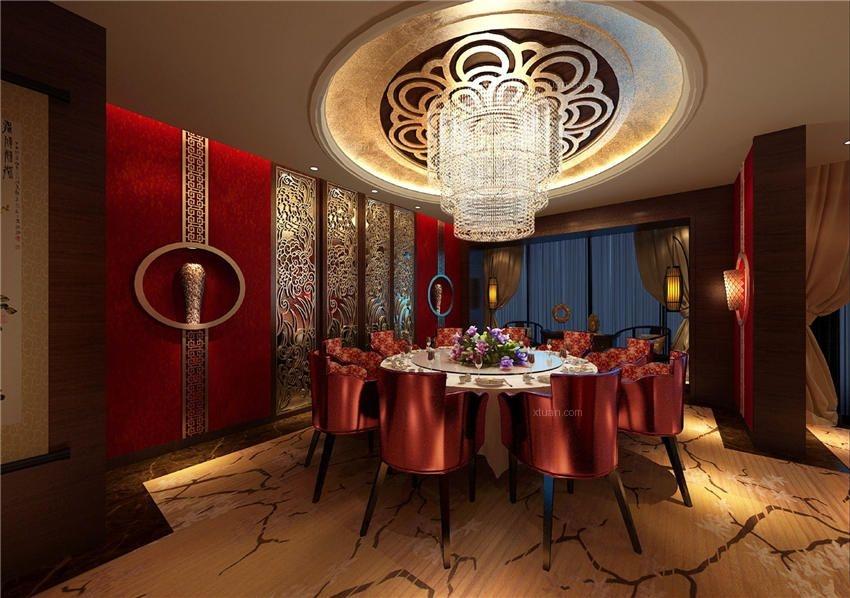 华丽喜庆中式风格北京酒店装修