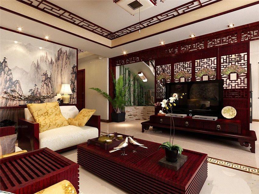 中式风格别墅室内装修效果图