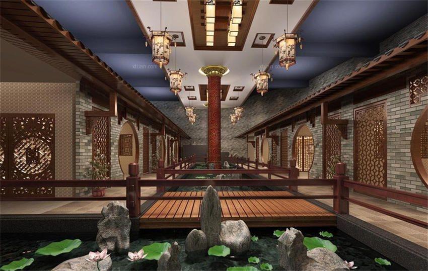 北京中式风格会所花香萦绕装修效果图图片