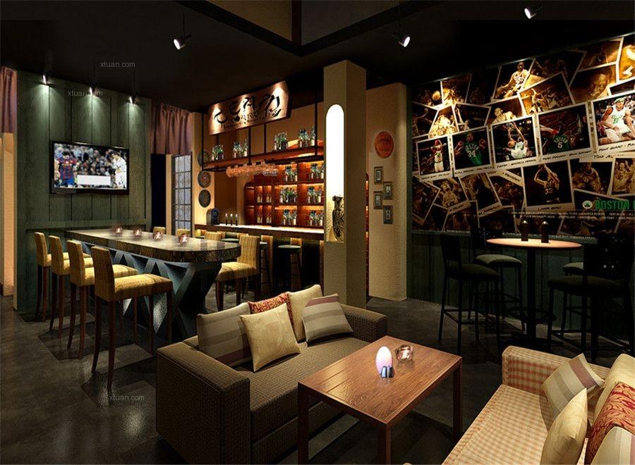 标签:酒吧美式风格 设计理念:酒吧共两层,这里是入口吧台的地方,整个