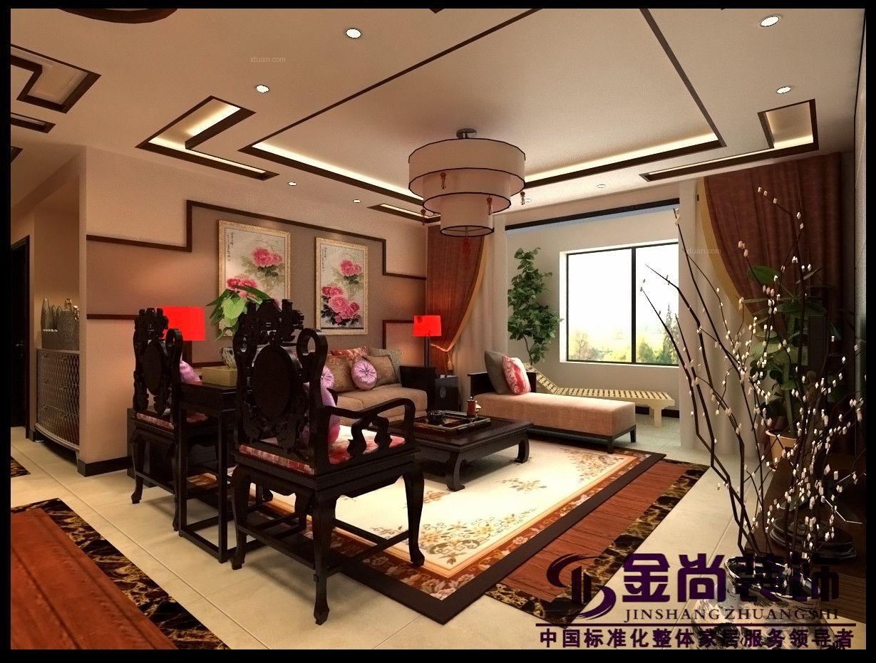 四居室中式风格客厅电视背景墙图片