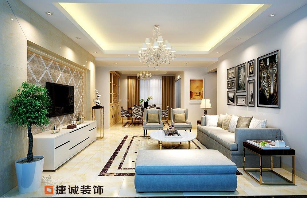 锦江丽都 三居室简欧风格装修效果图图片