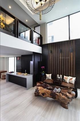禅意空间新中式别墅客厅装修效果图