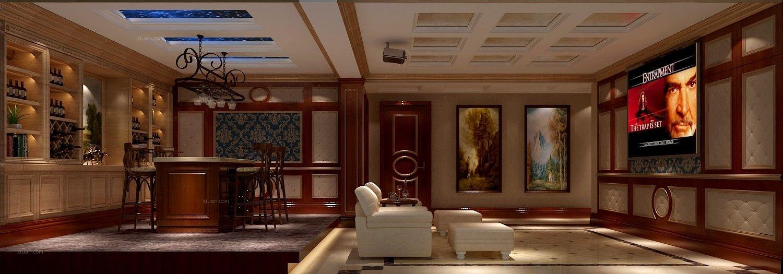 别墅欧式风格地下室影视墙图片
