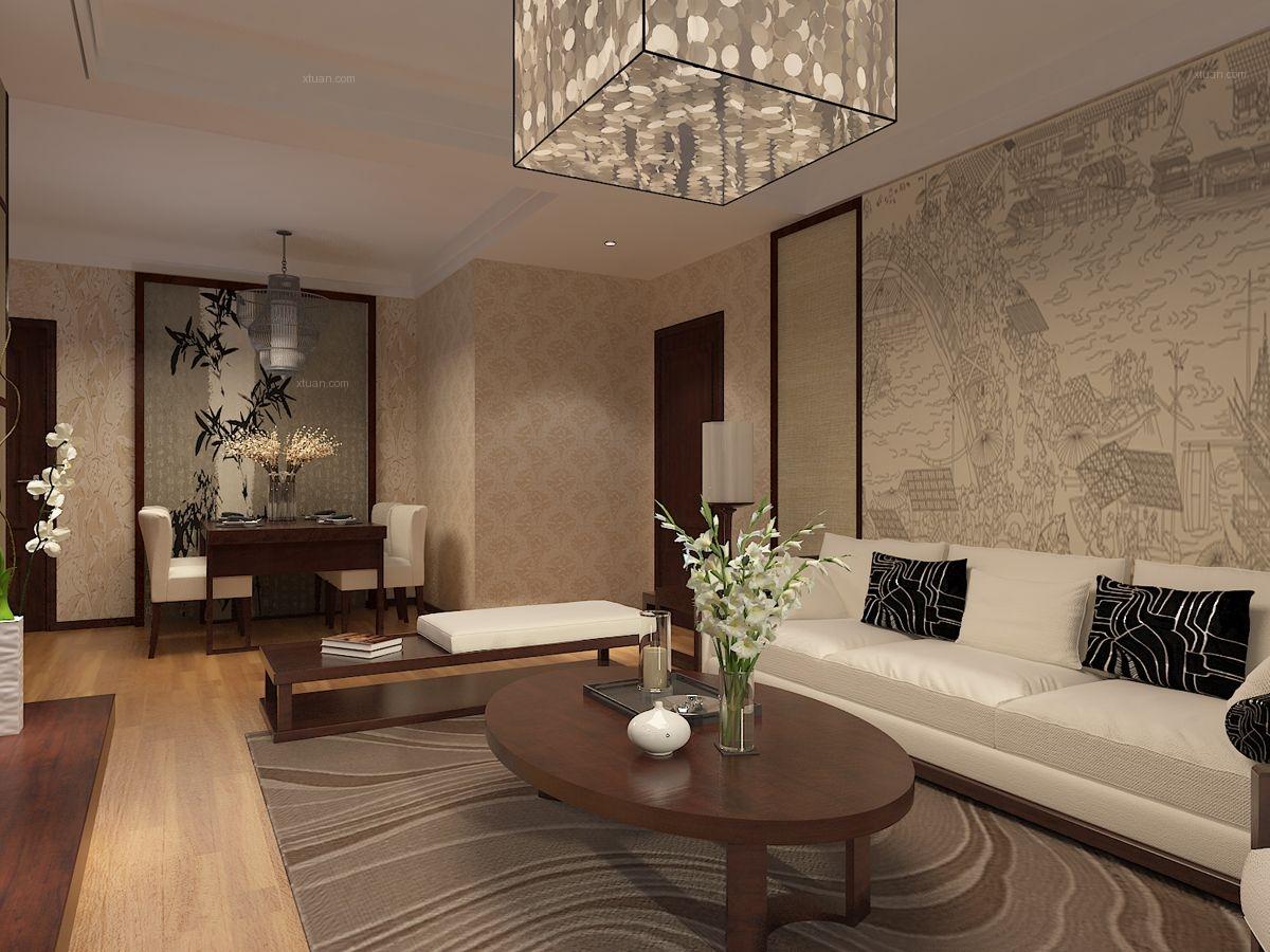 两居室中式风格客厅沙发背景墙