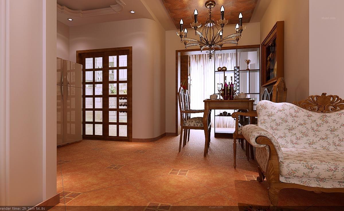 三室两厅美式风格餐厅开放式厨房图片