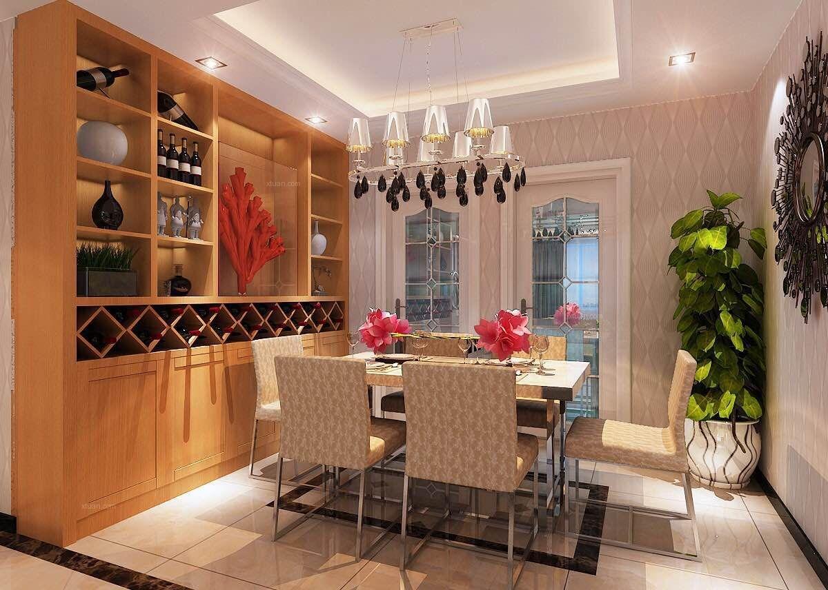 四居室现代简约餐厅客厅隔断
