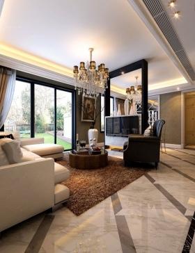 鼎元府邸130平方简欧风格 家不在小温馨就好欧式风格客厅装修效果图图片