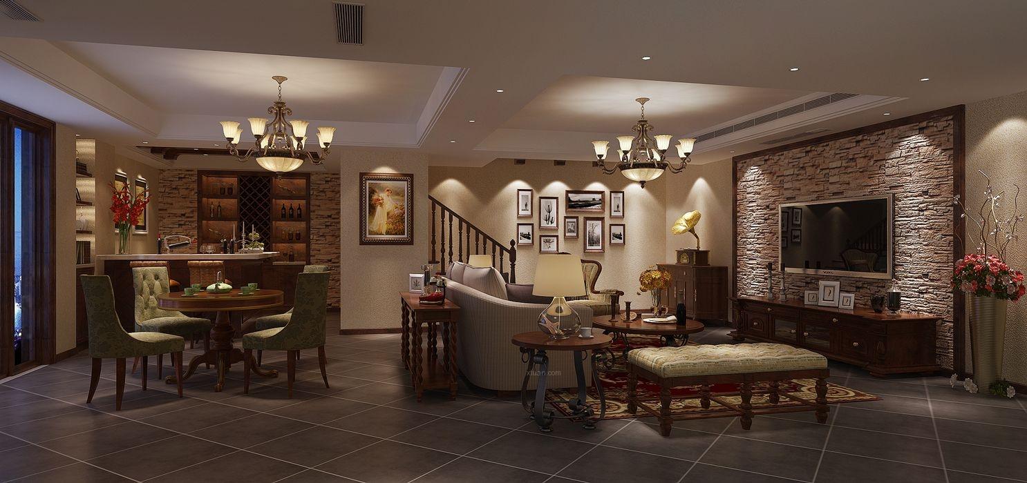 富力湾挑空别墅现代简约美式风格设计装修效果图图片
