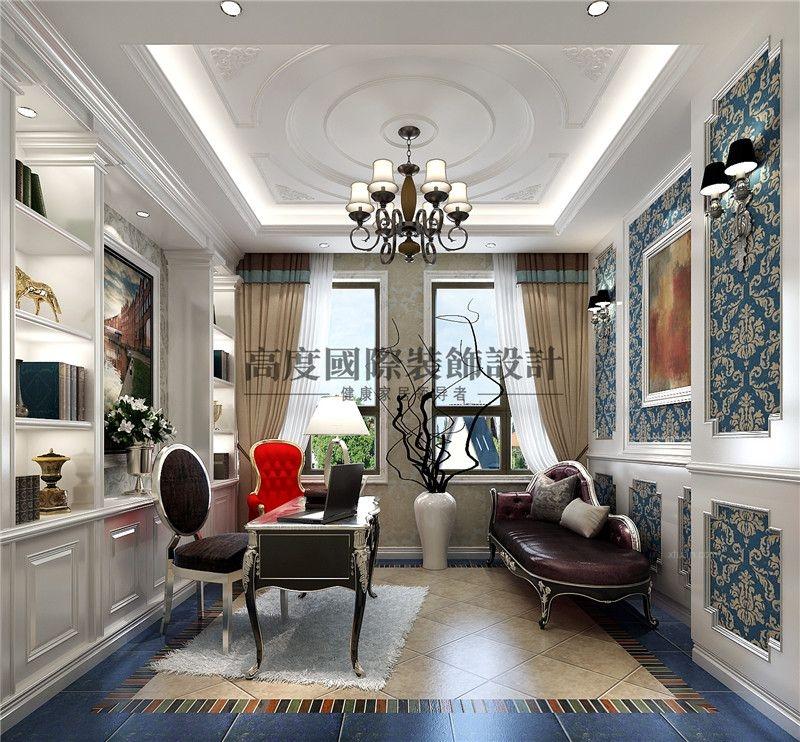 三室一厅法式风格书房图片