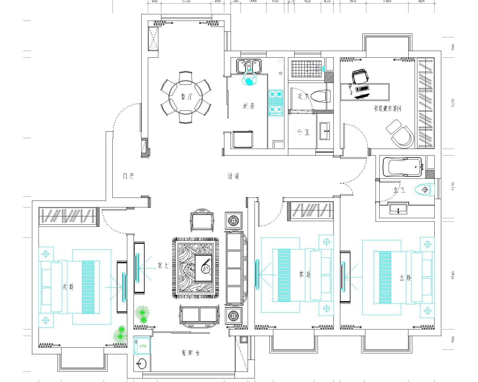 华钜御庭别墅新中式风格设计装修效果图