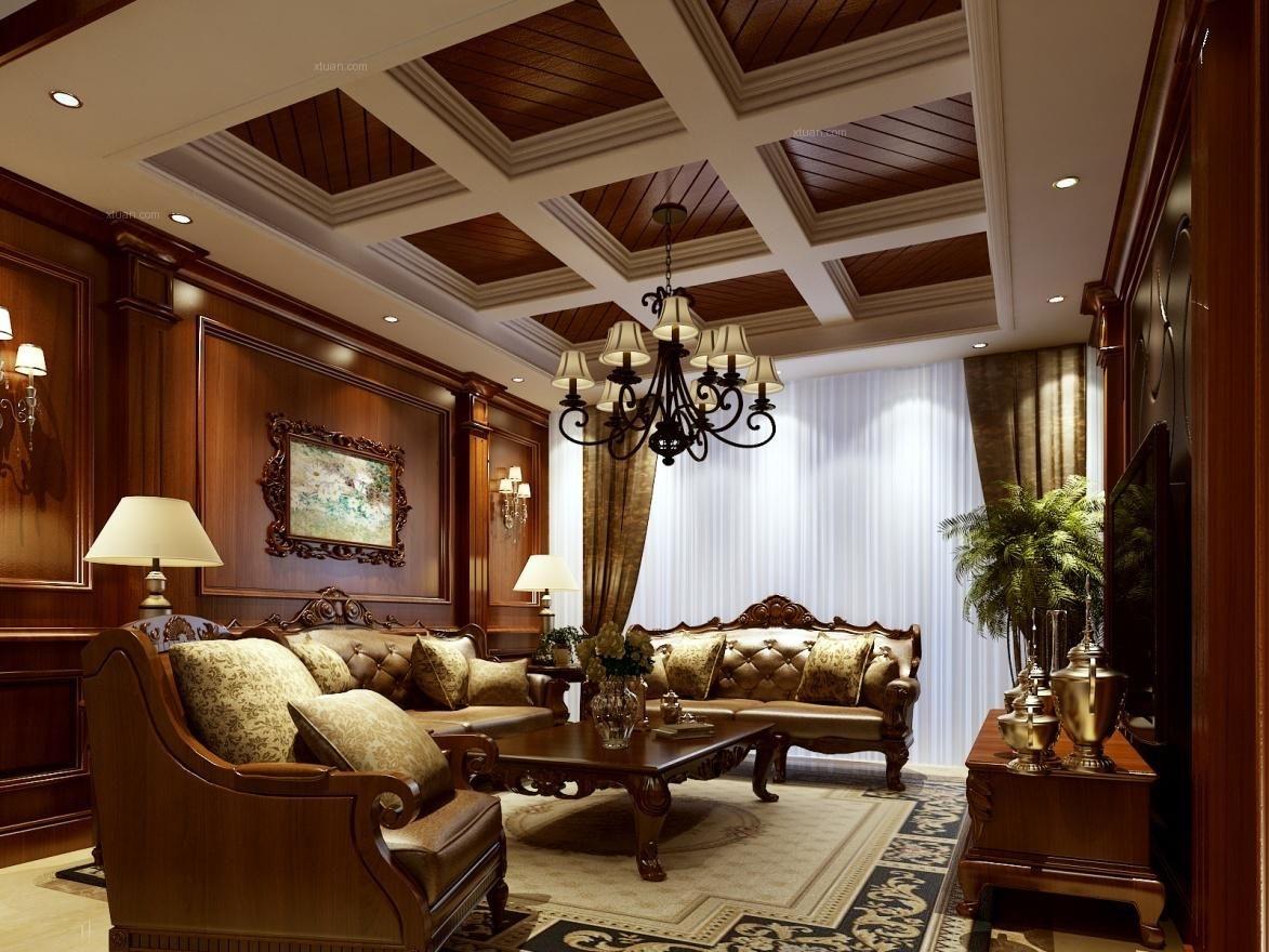 大户型欧式风格客厅沙发背景墙图片