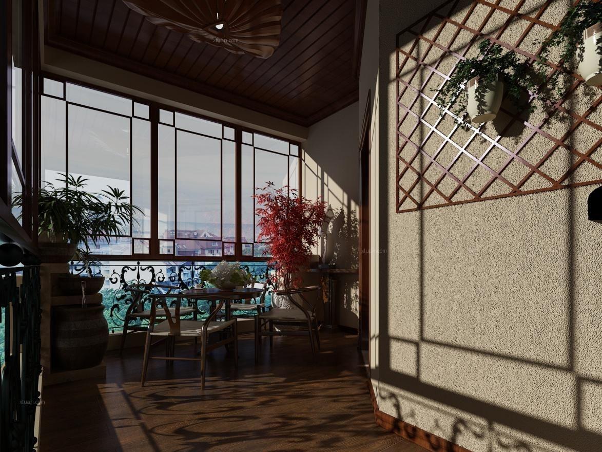 跃层中式风格阳台花园隔断