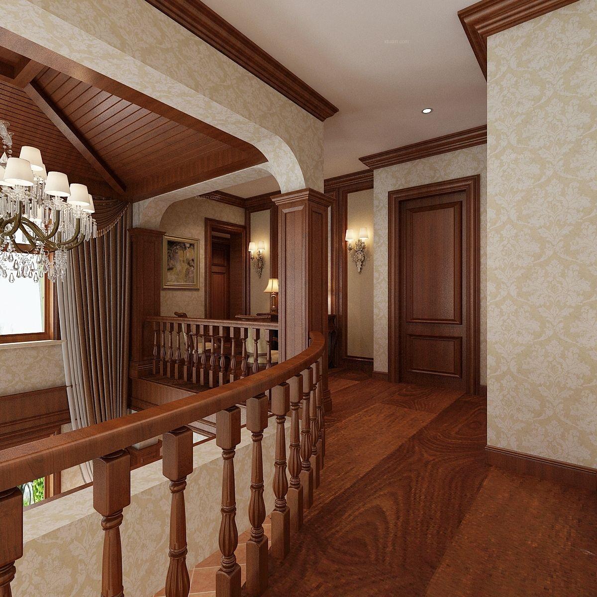 独栋别墅美式风格过道图片