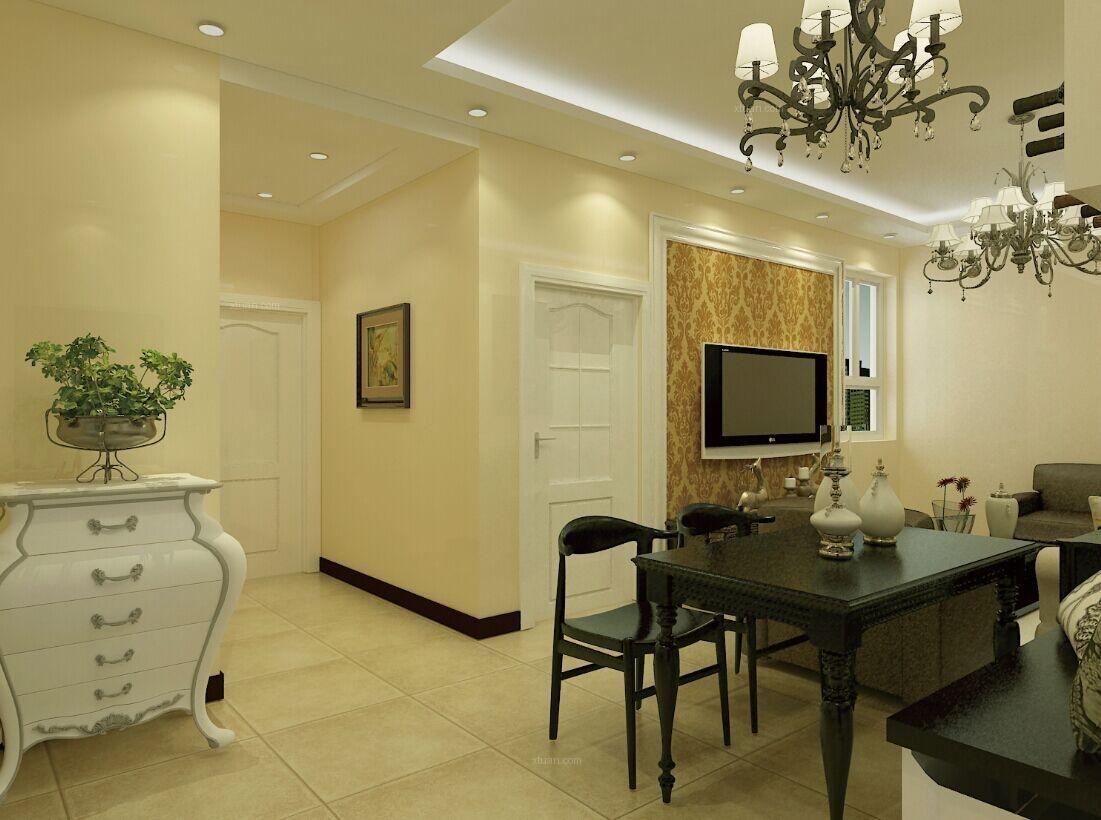 两居室美式风格餐厅电视背景墙图片
