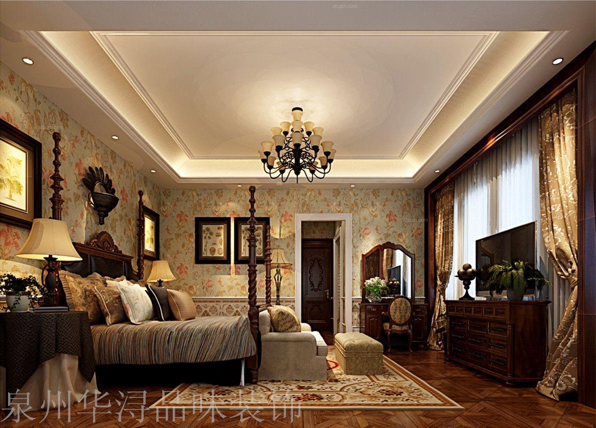 别墅美式风格卧室电视背景墙