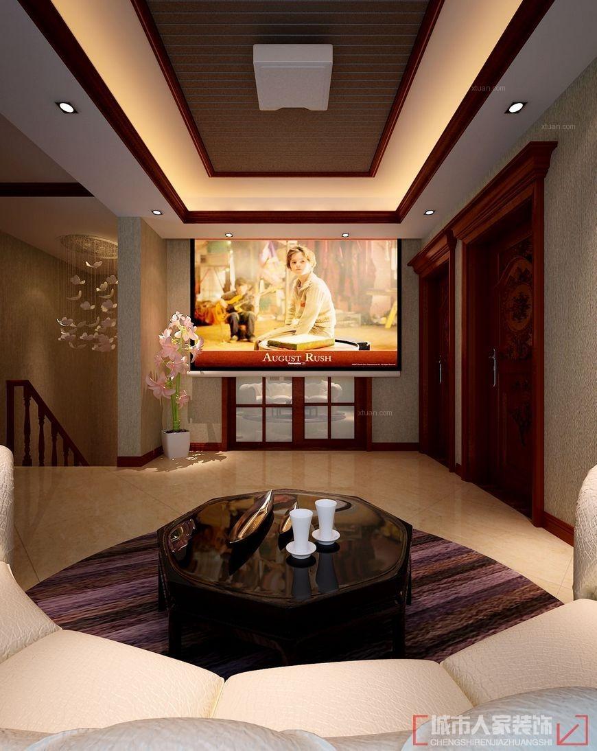 复式楼中式风格休闲区影视墙图片