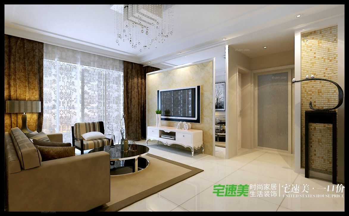 两室一厅简欧风格客厅电视背景墙图片