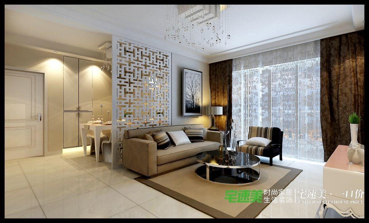 两室一厅简欧风格客厅隔断图片