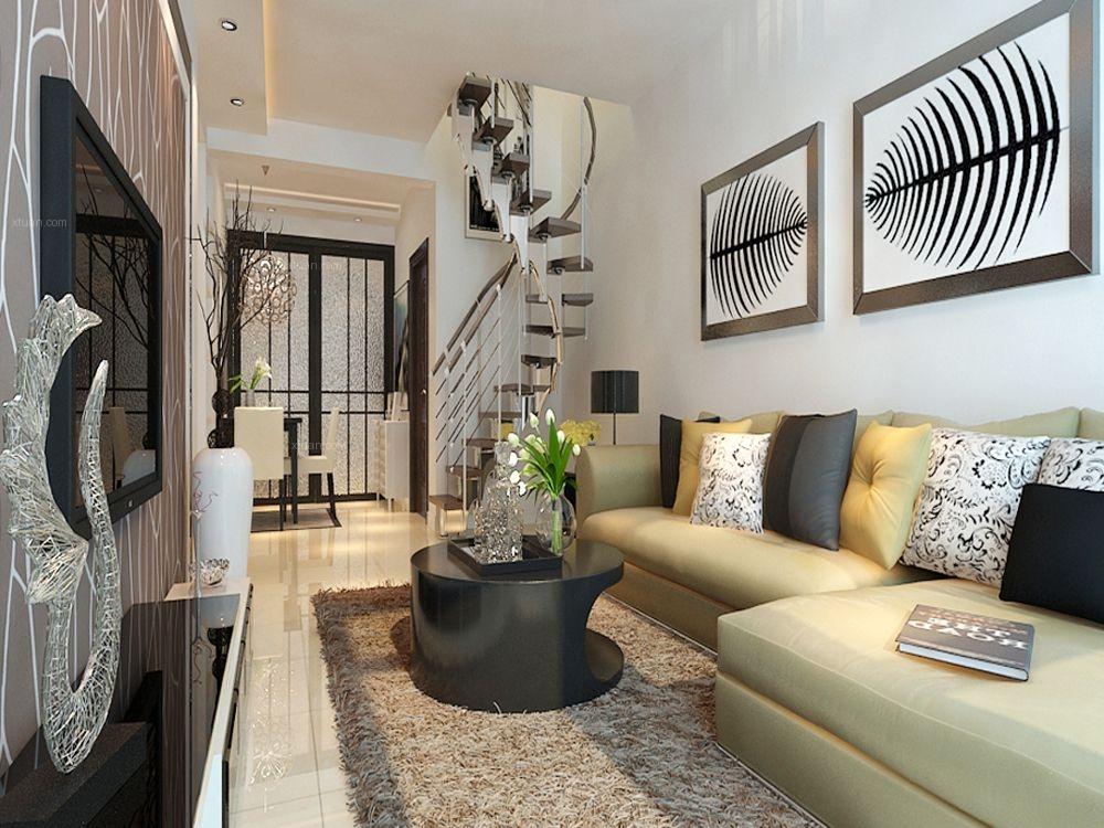 复式楼现代风格客厅沙发背景墙