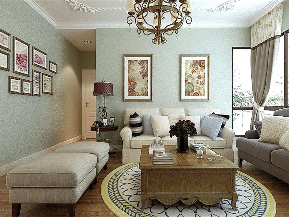 三室两厅简欧风格客厅沙发背景墙图片